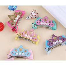 Glitter Princess Crown Bow Hair Clip