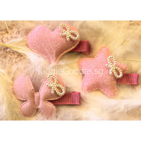 Baby Pink Glitter Pearl Hair Clip